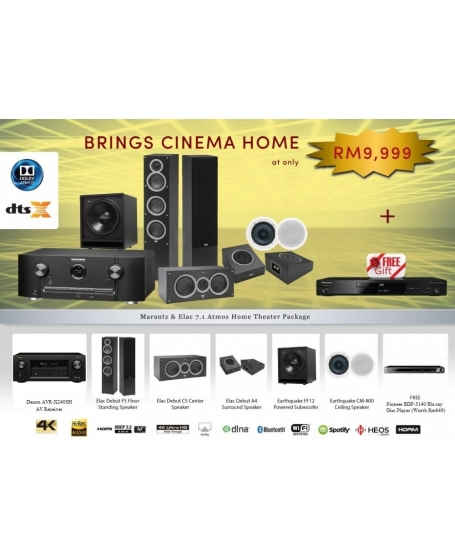 Denon & Elac 7.1 Atmos Home Theater Package