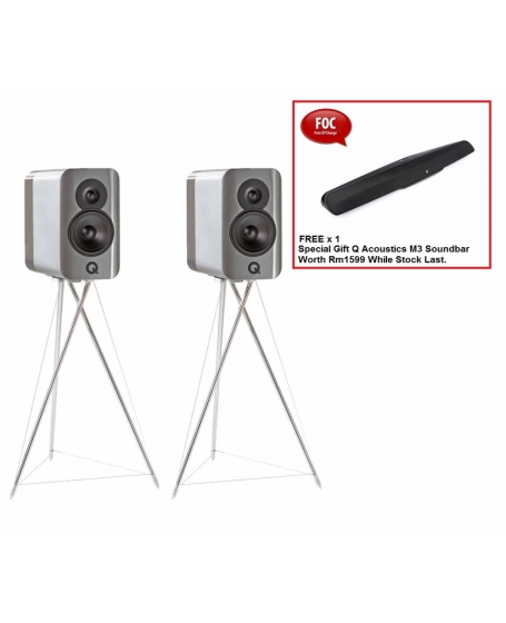 Q Acoustics Concept 300 Bookshelf Speakers With Original Stands