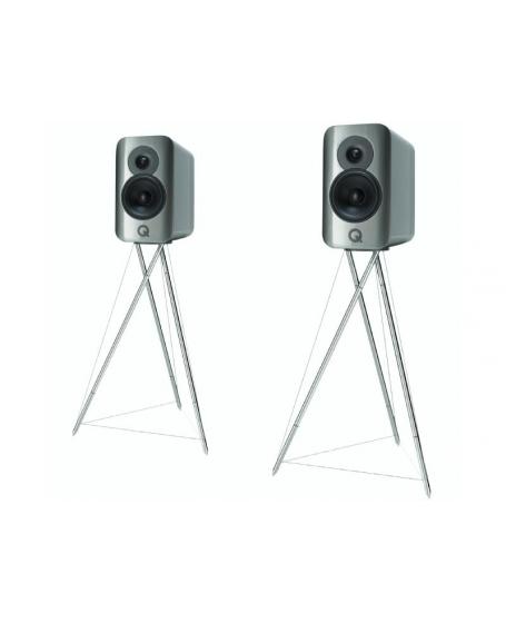 Q Acoustics Concept 300 Bookshelf Speakers With Original Stands.