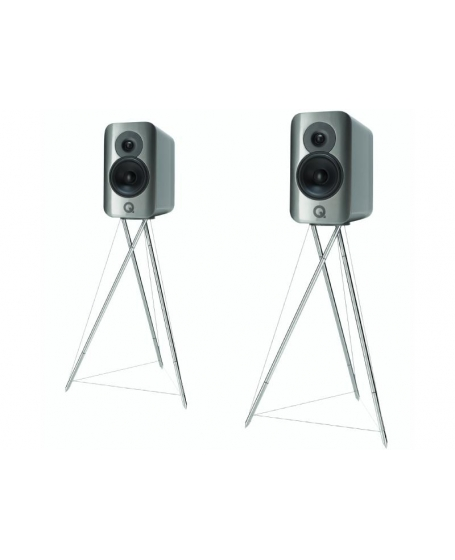 Q Acoustics Concept 300 Bookshelf Speakers With Original Stands.