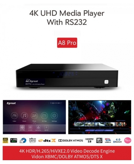 Egreat A8 Pro Professional 4K HDR HDD Media Player