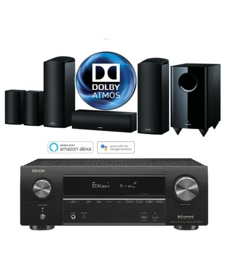 Denon AVR-X1600H + Onkyo SKS-HT588 5.1.2Ch Dolby Atmos Home Theatre Package