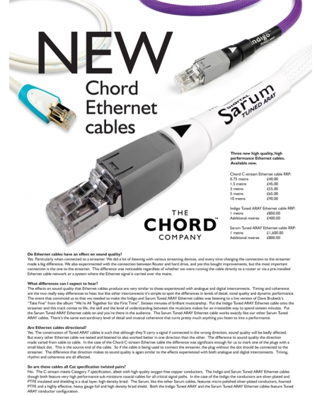 Chord Sarum Tuned Aray Ethernet Cable 1m Brand New Made In England