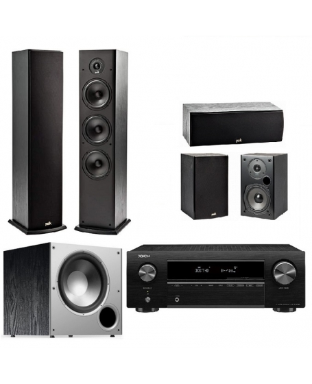 Denon AVR-X250BT + Polk Audio T Series + Polk Audio PSW10 Home Theatre Package
