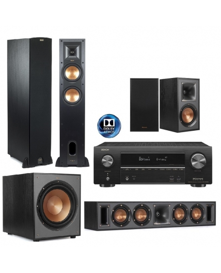 Denon AVR-X1600H + Klipsch 5.1.2 Dolby Atmos Home Theatre Package