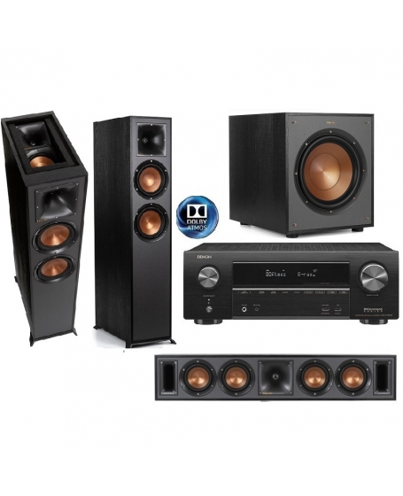 Denon AVR-X1600H + Klipsch 625FA + R-34C + R-120SW Dolby Atmos Home Theatre Package