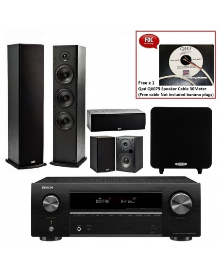 Denon AVR-X550BT + Polk Audio T Series + Polk Audio PSW 111 Home Theatre Package