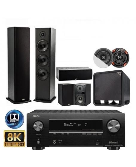 Denon AVR-X2700H+Polk Audio T Series+Polk Audio HTS10+Earthquake R650 5.1.2 Home Theatre Package