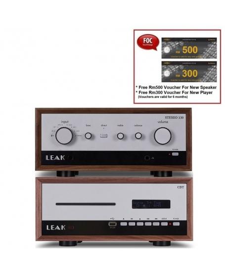 Leak Stereo 130 Integrated Amplifier + Leak CDT CD Player (Walnut)
